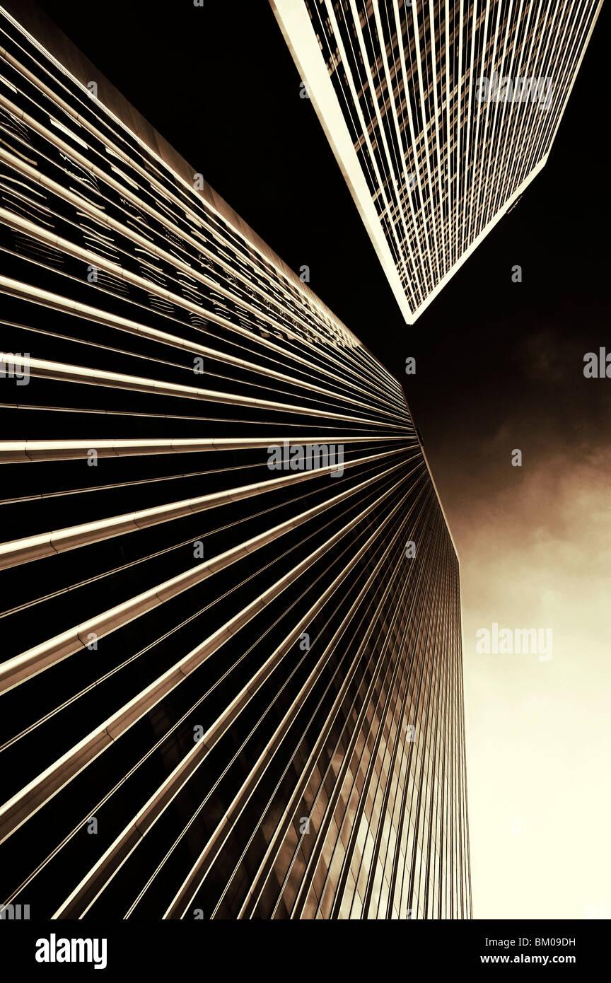 Fondo delle Torri Gemelle a Los Angeles la sorella di edifici del World Trade Center a New York stesso architetto Immagini Stock