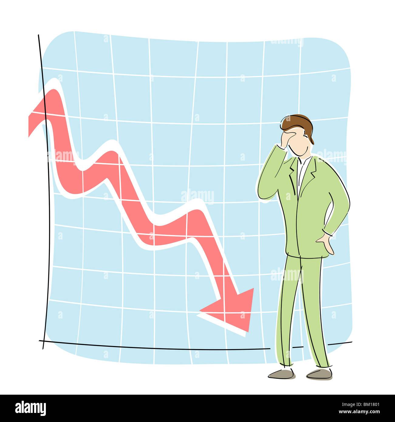 Imprenditore in piedi di fronte a un grafico a linee in movimento verso il basso Immagini Stock