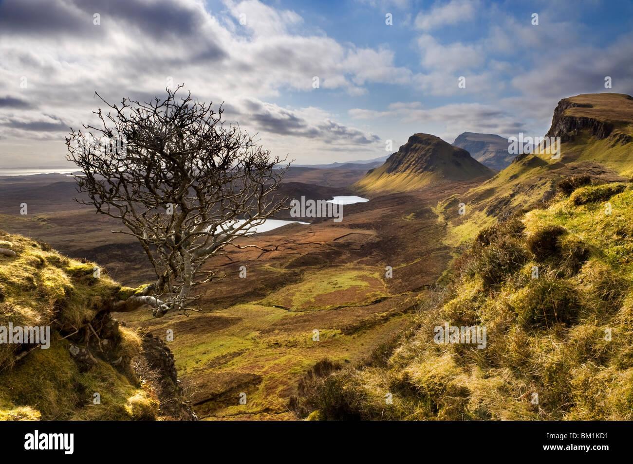 Trotternish dal Quiraing, Isola di Skye, Ebridi Interne, Highlands scozzesi, Scotland, Regno Unito Immagini Stock