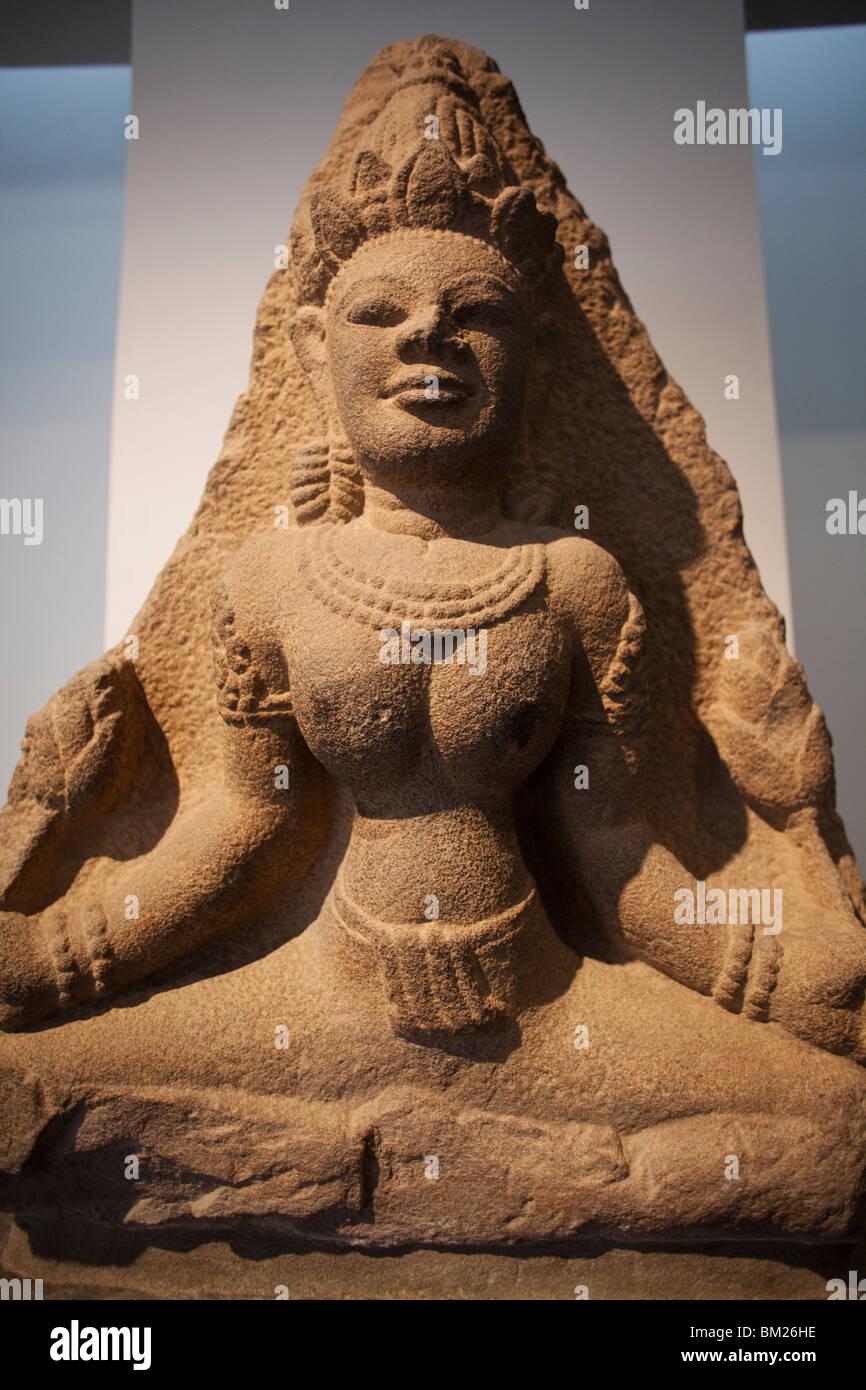 Statua di Lakshmi la dea Indù della ricchezza e prosperità, museo di storia, la città di Ho Chi Minh, Immagini Stock