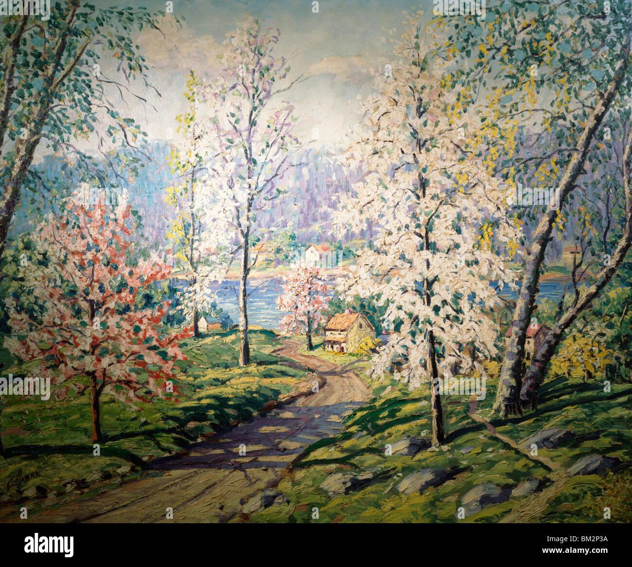 La molla lungo il Delaware da Carol Sirak, olio su tela, (1906-1976), USA, Pennsylvania, Philadelphia, David Gallery Immagini Stock