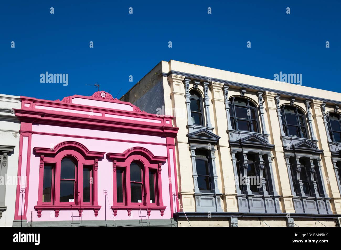Colorata architettura lungo Manchester Street. Christchurch, Canterbury, Isola del Sud, Nuova Zelanda Immagini Stock