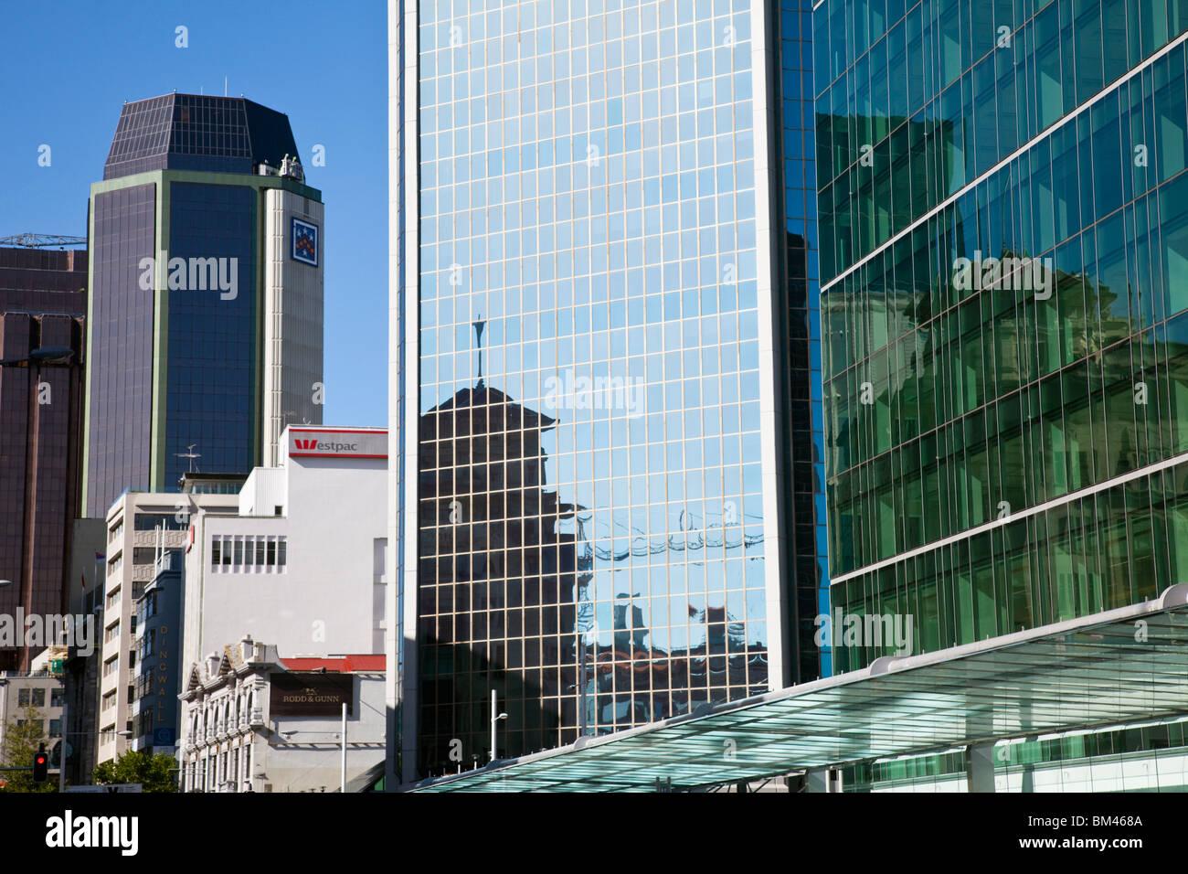 La moderna architettura del quartiere centrale degli affari. Auckland, Isola del nord, Nuova Zelanda Immagini Stock