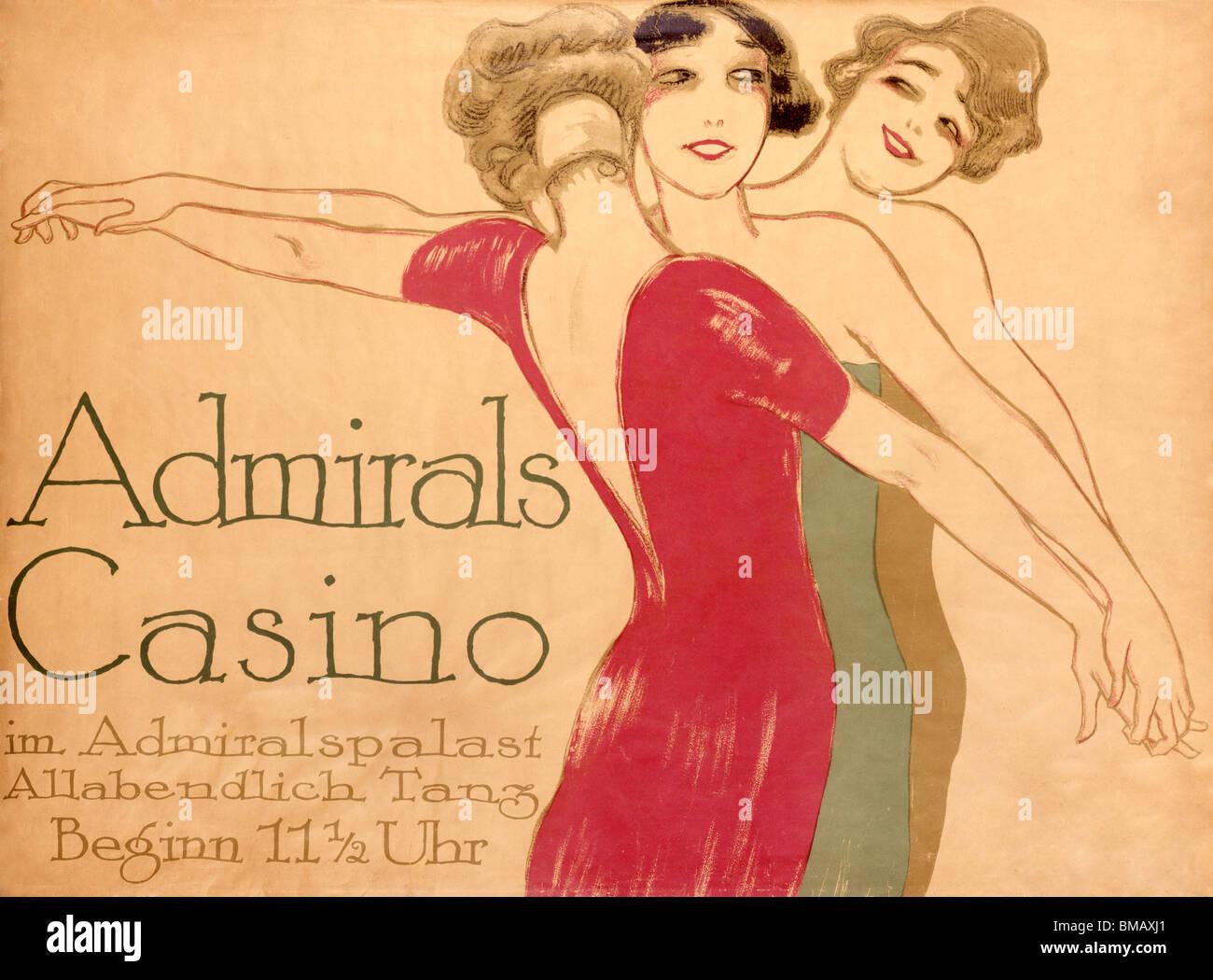 Ammiragli Casino, poster da Hollerbaum & Schmidt. Germania, xx secolo Immagini Stock