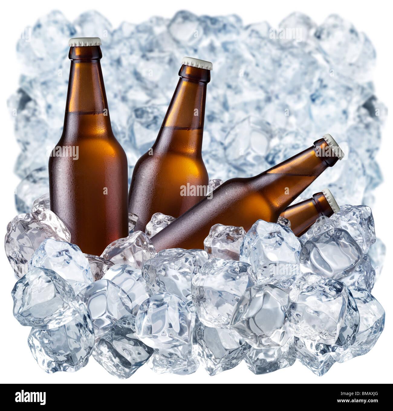 Bottiglie di birra su ghiaccio Immagini Stock