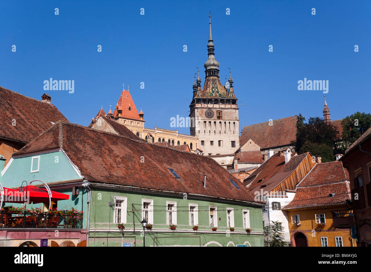 La Romania, Transilvania, Sighisoara Città Vecchia medievale o cittadella, la torre dell orologio (Turnul cu Immagini Stock