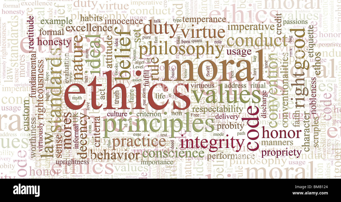 Parola o tag cloud di etica morale e valori di parole Immagini Stock