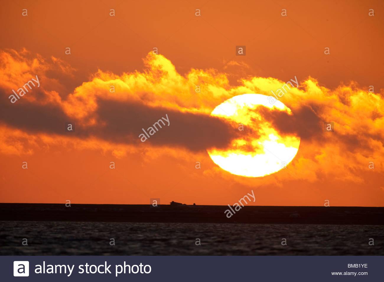 Il sole sorge in un tripudio di colori oltre il Beaufort Sea al largo della costa di ANWR Immagini Stock