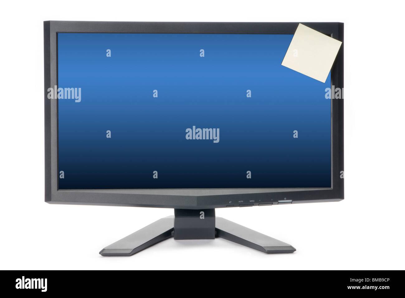 Comupter monitor con post-it nota adesiva Immagini Stock