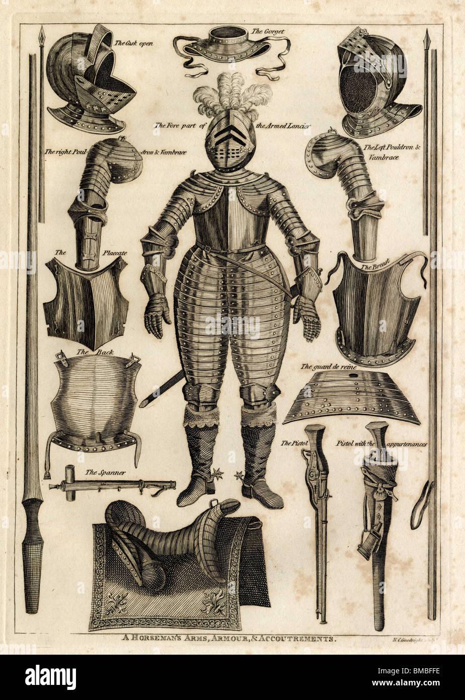 Cavaliere delle armi, armature e abbigliamento: gorget, botte, lancier, poudrons, placare, chiave, pettorale, pistola, Immagini Stock