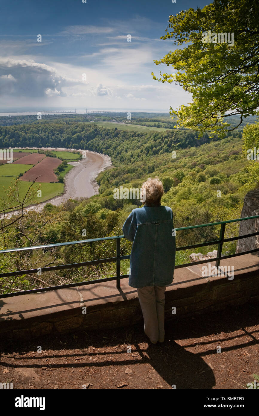 Eagle's Nest Viewpoint affacciato sul fiume Wye e di Wye Valley, Monmouthshire Wales UK Immagini Stock