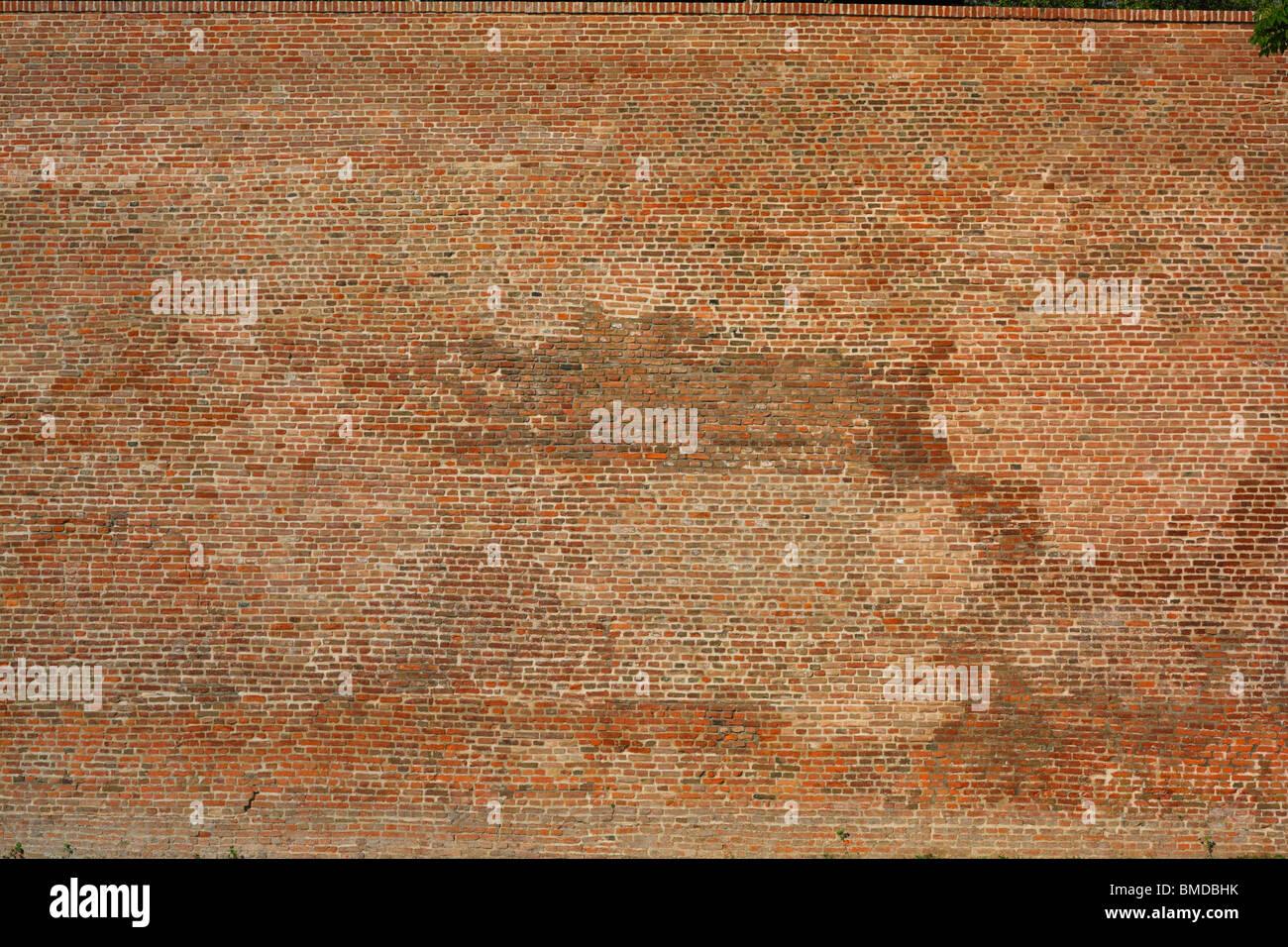 Muro di mattoni, ampia e dettaglio sullo sfondo Immagini Stock