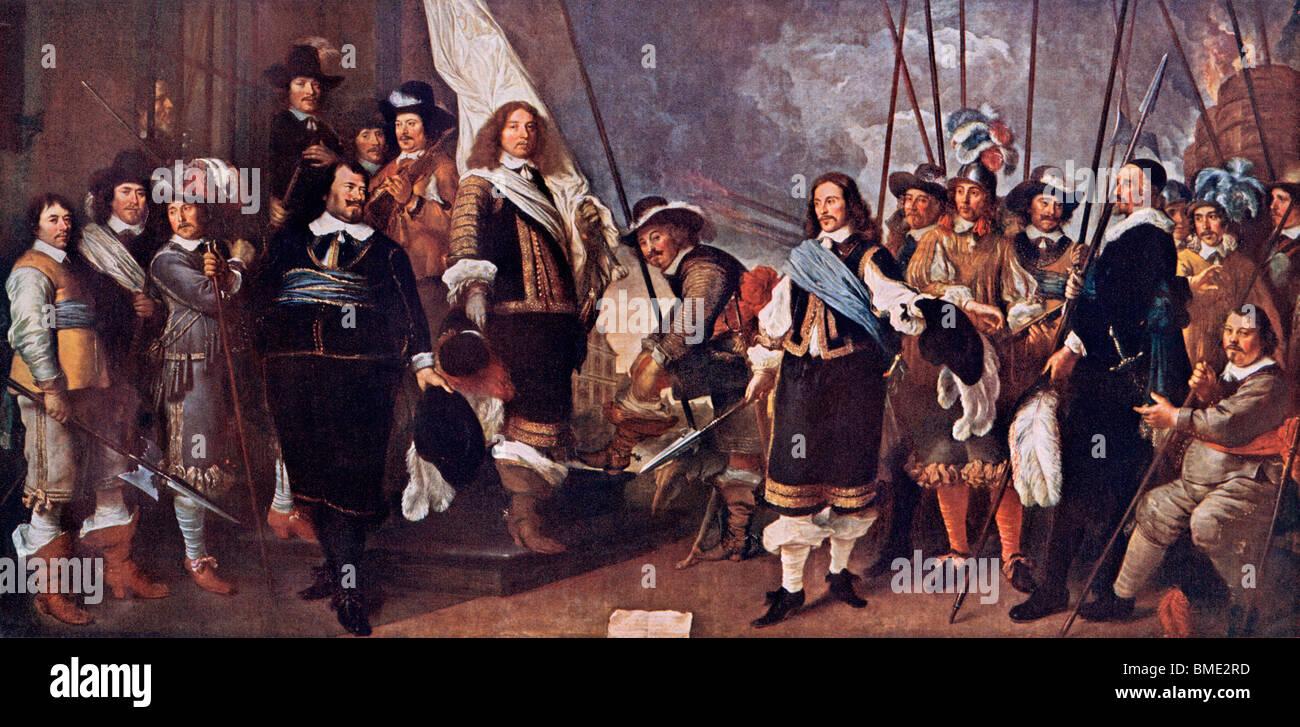 Olandese celebrando il Trattato di Vestfalia, terminando la guerra dei trenta anni, 1648. Colore mezzetinte di una Immagini Stock