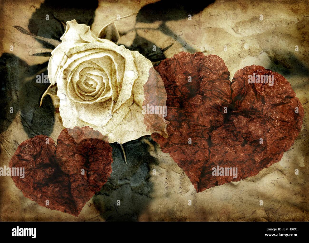 Immagine di grunge di rose e cuori Foto Stock