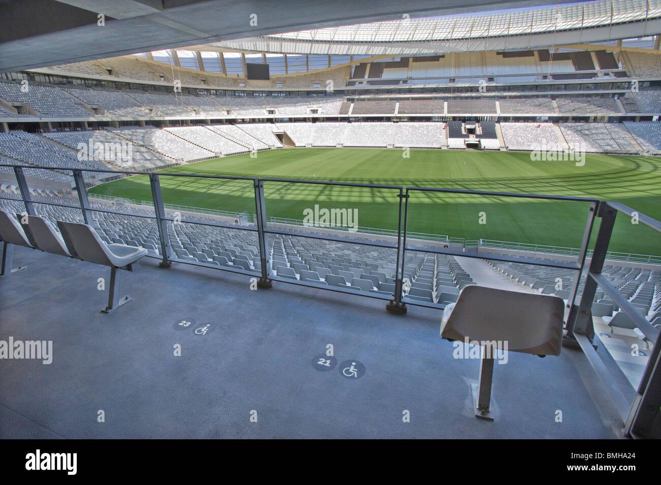 Stadio Green Point, posti a sedere per gli utenti di sedia a rotelle, Cape Town, Sud Africa Immagini Stock