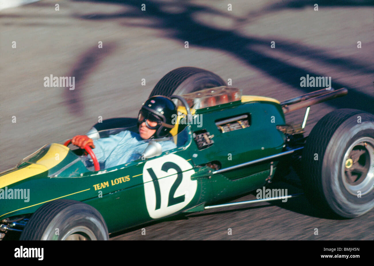 Jim Clark in Lotus 25 durante 1964 Grand Prix di Monaco Immagini Stock