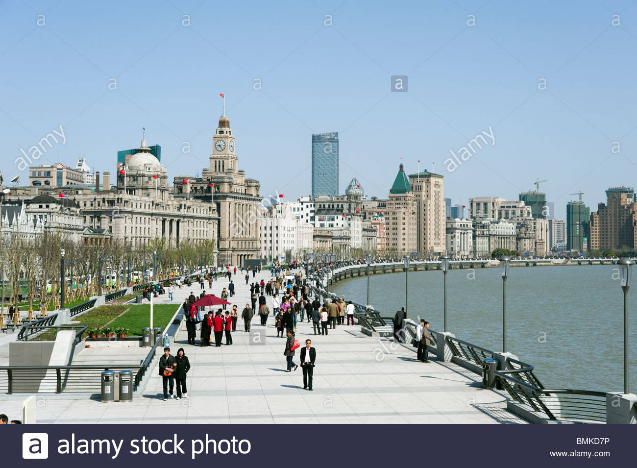 Il Bund promenade, Shanghai, Cina Immagini Stock