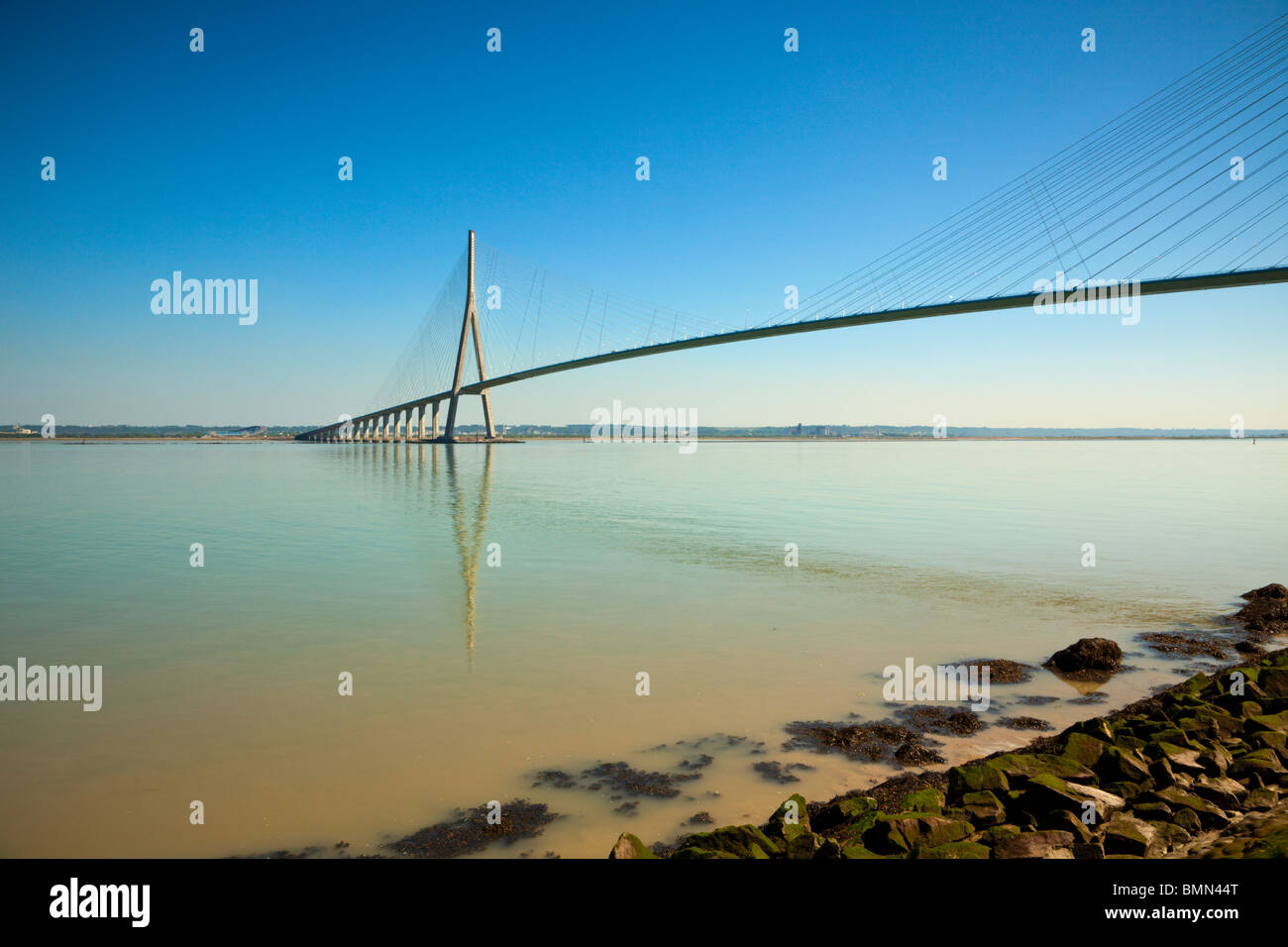 Pont de Normandie, il ponte che attraversa il fiume Senna da Le Havre a Honfleur Foto Stock