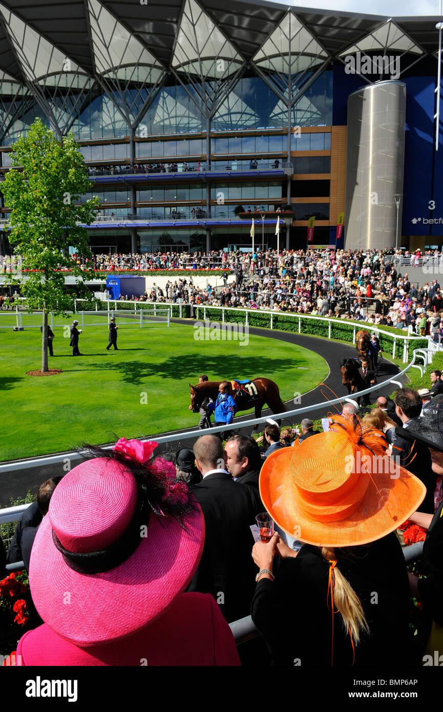 Vista della gara frequentatori di indossare cappelli intorno alla parade ring durante il giorno uno del Royal Ascot Immagini Stock