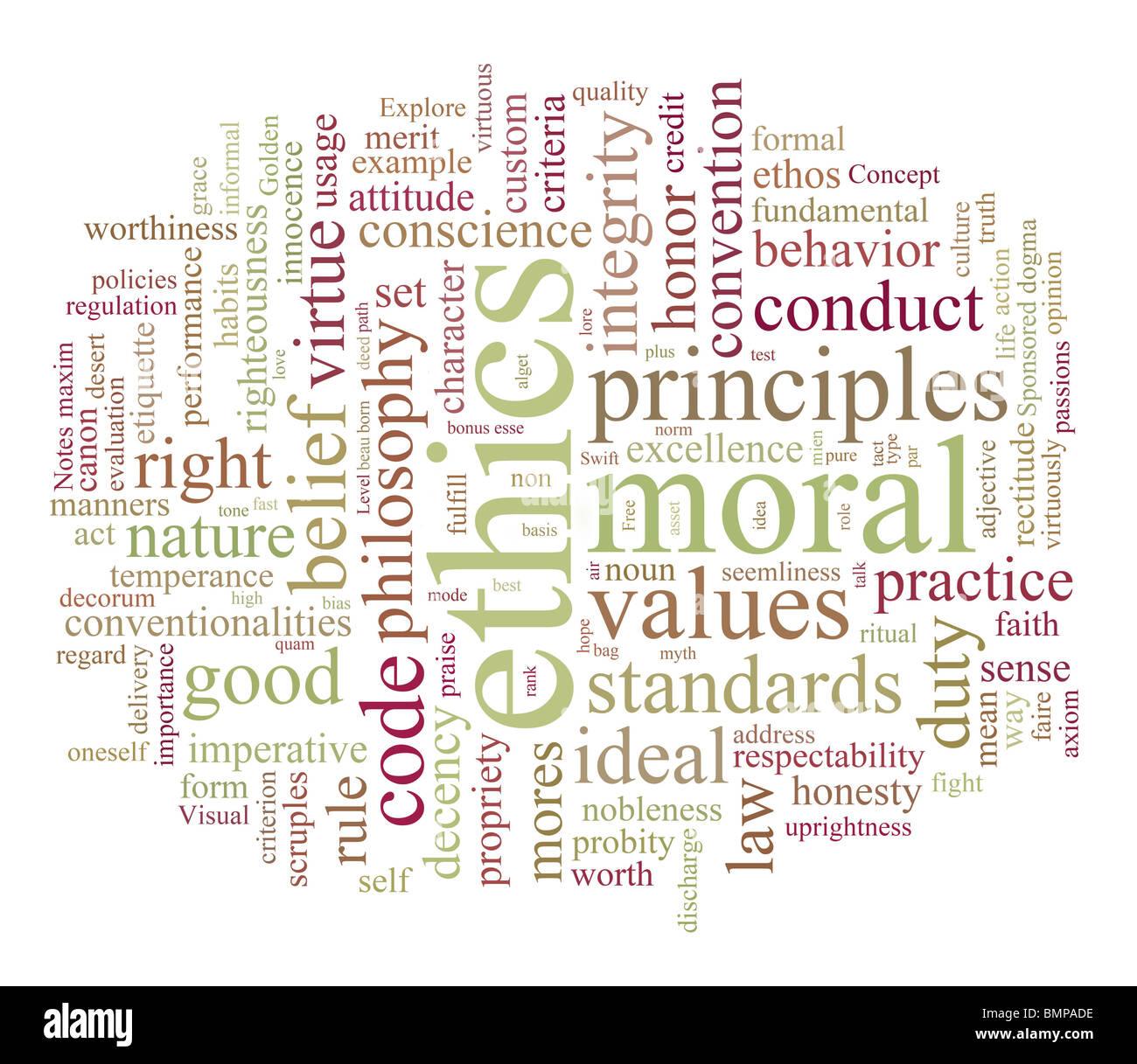 Etica e morales parola o tag cloud Immagini Stock