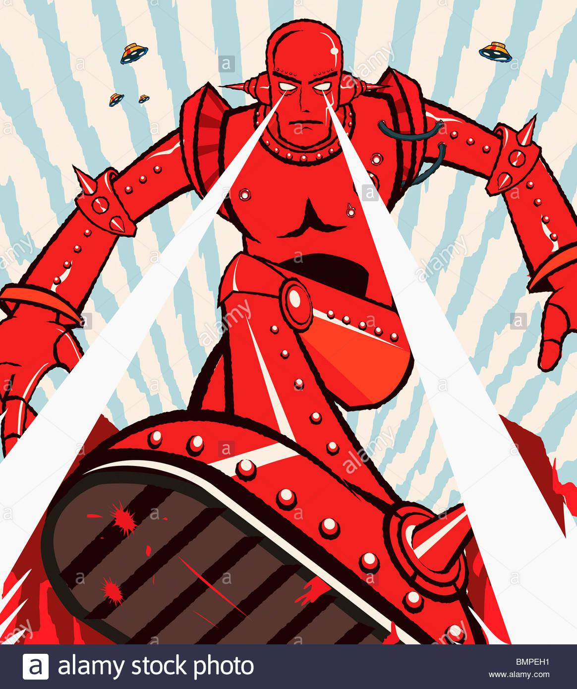 Robot rosso che attacca con travi a vista dagli occhi Immagini Stock