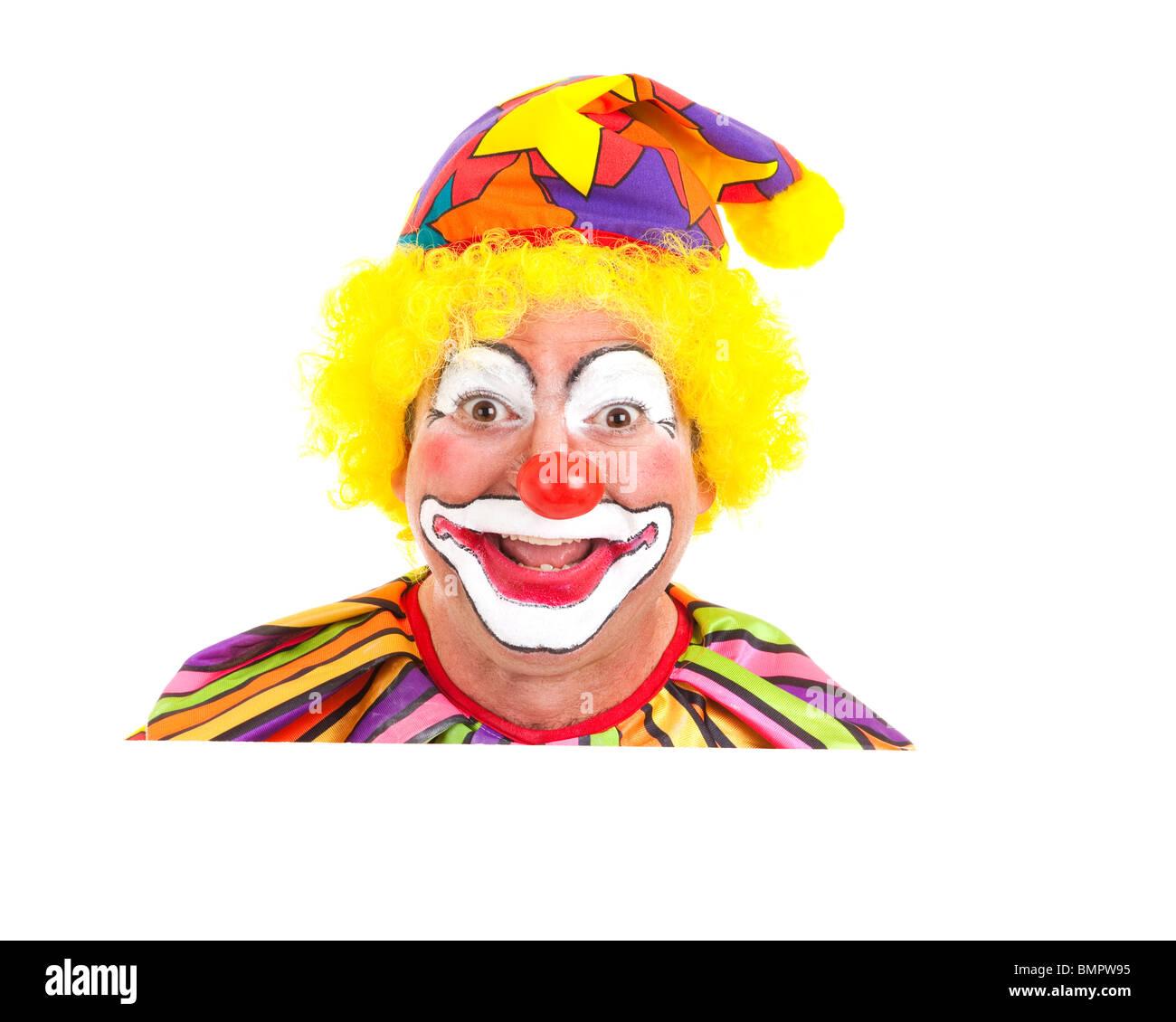 Faccia Da Clown Peeking Su Spazio Bianco Isolato Elemento Di Design