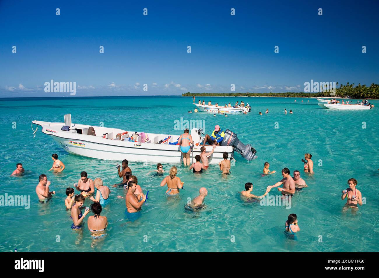 Repubblica Dominicana, La Altagracia Provincia, Del Este Parco Nazionale, Bayahibe Costa, sandbank Immagini Stock