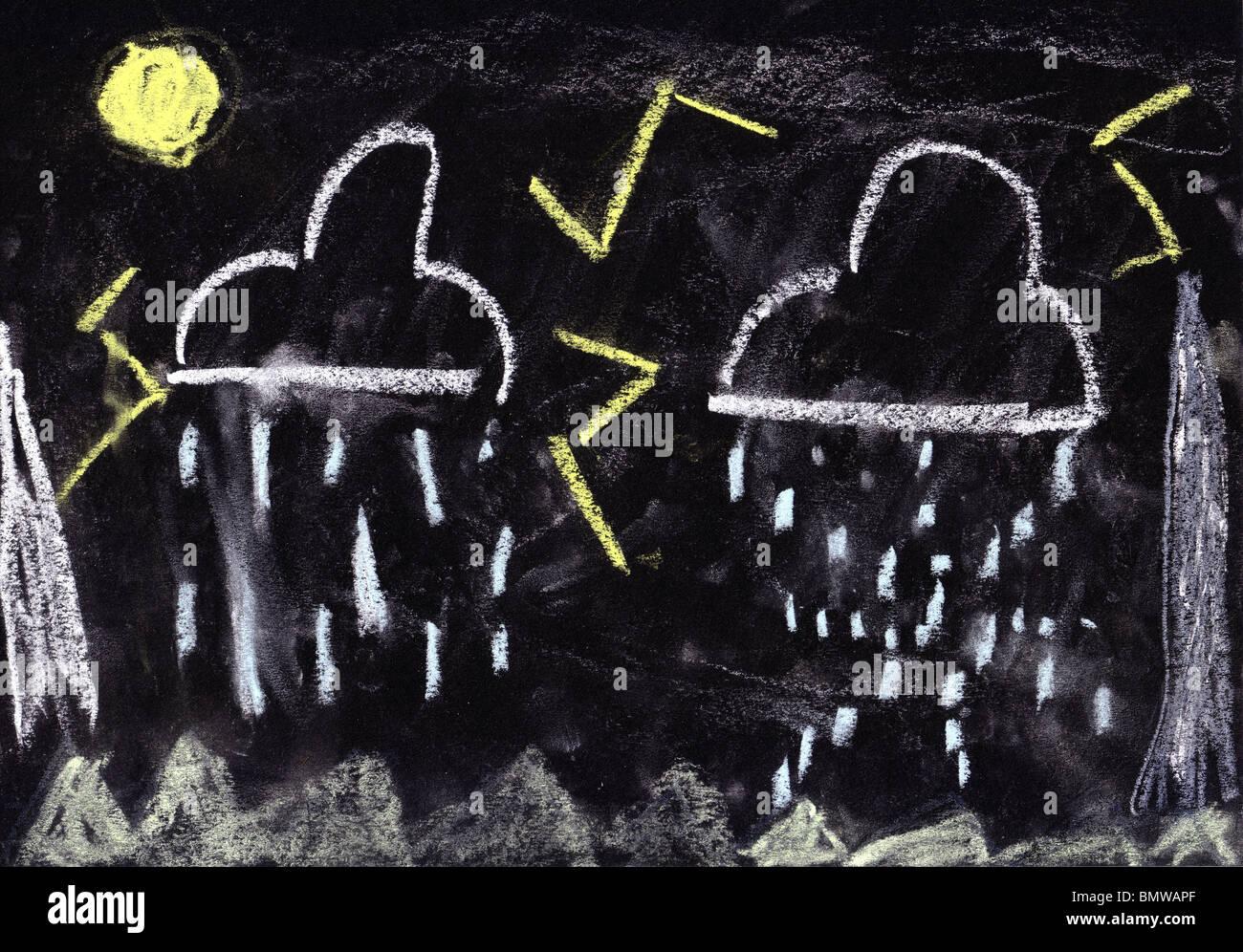 Bambino disegno chalk maltempo, nero lo sfondo della carta Immagini Stock