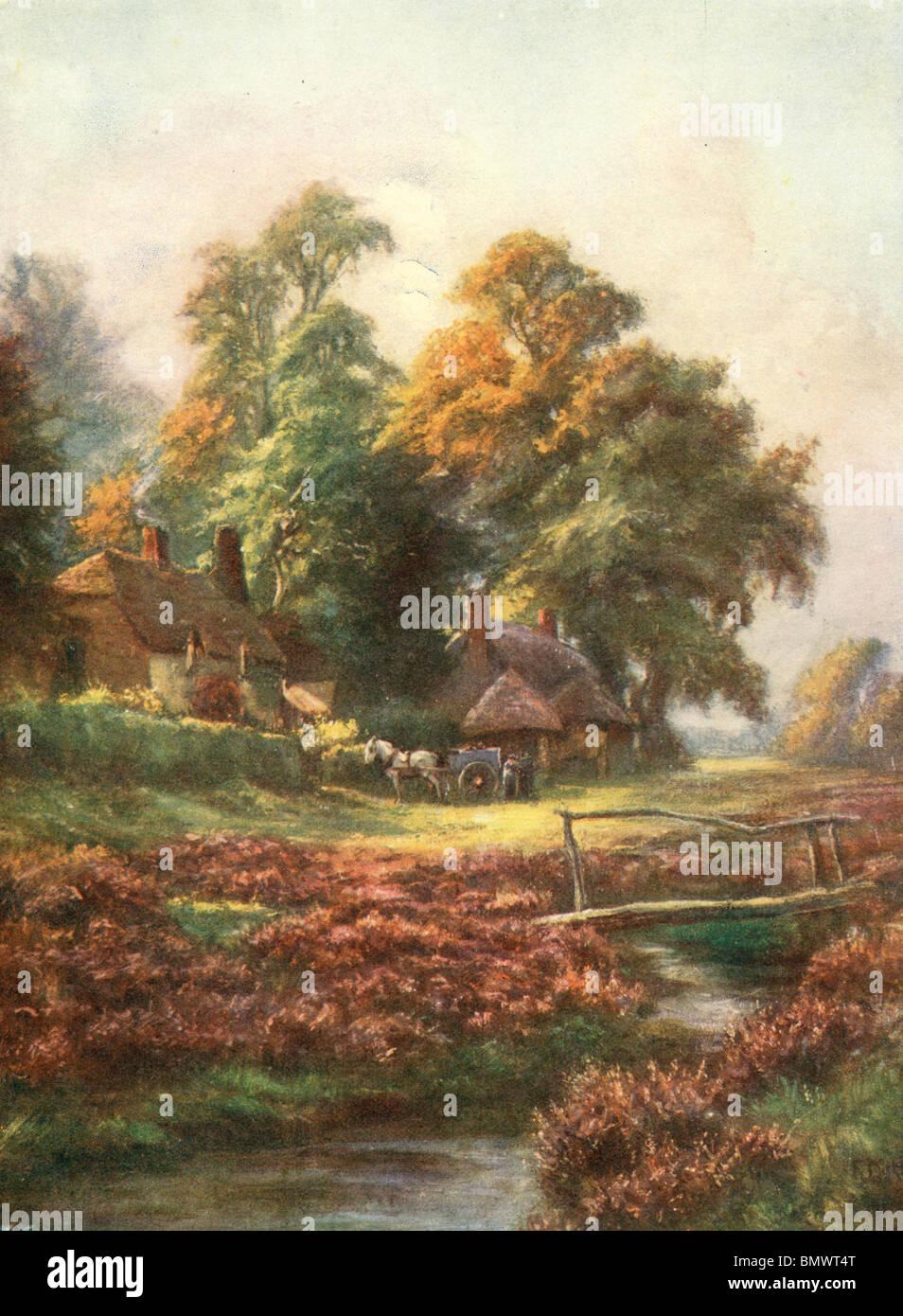 Autunno in un villaggio di Hampshire Immagini Stock
