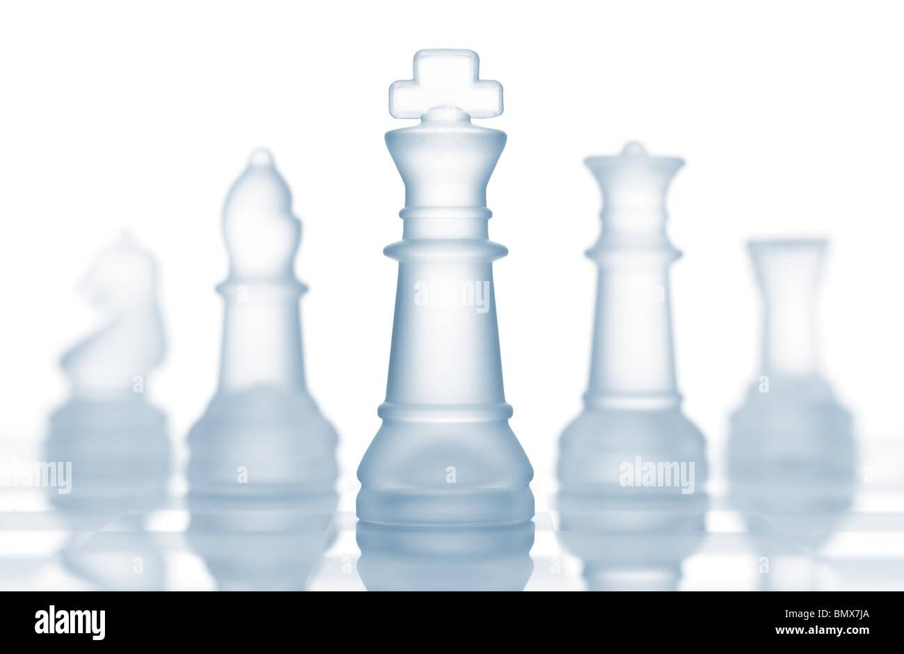Vetro trasparente a scacchi isolato su bianco Immagini Stock