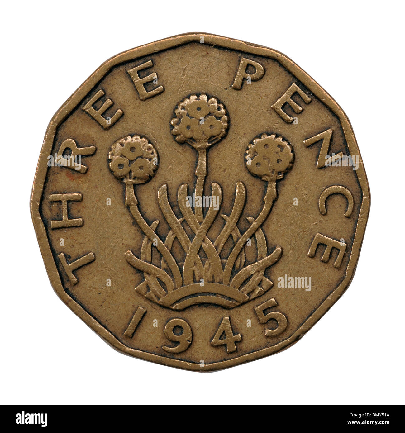 Tre Pence coin Immagini Stock