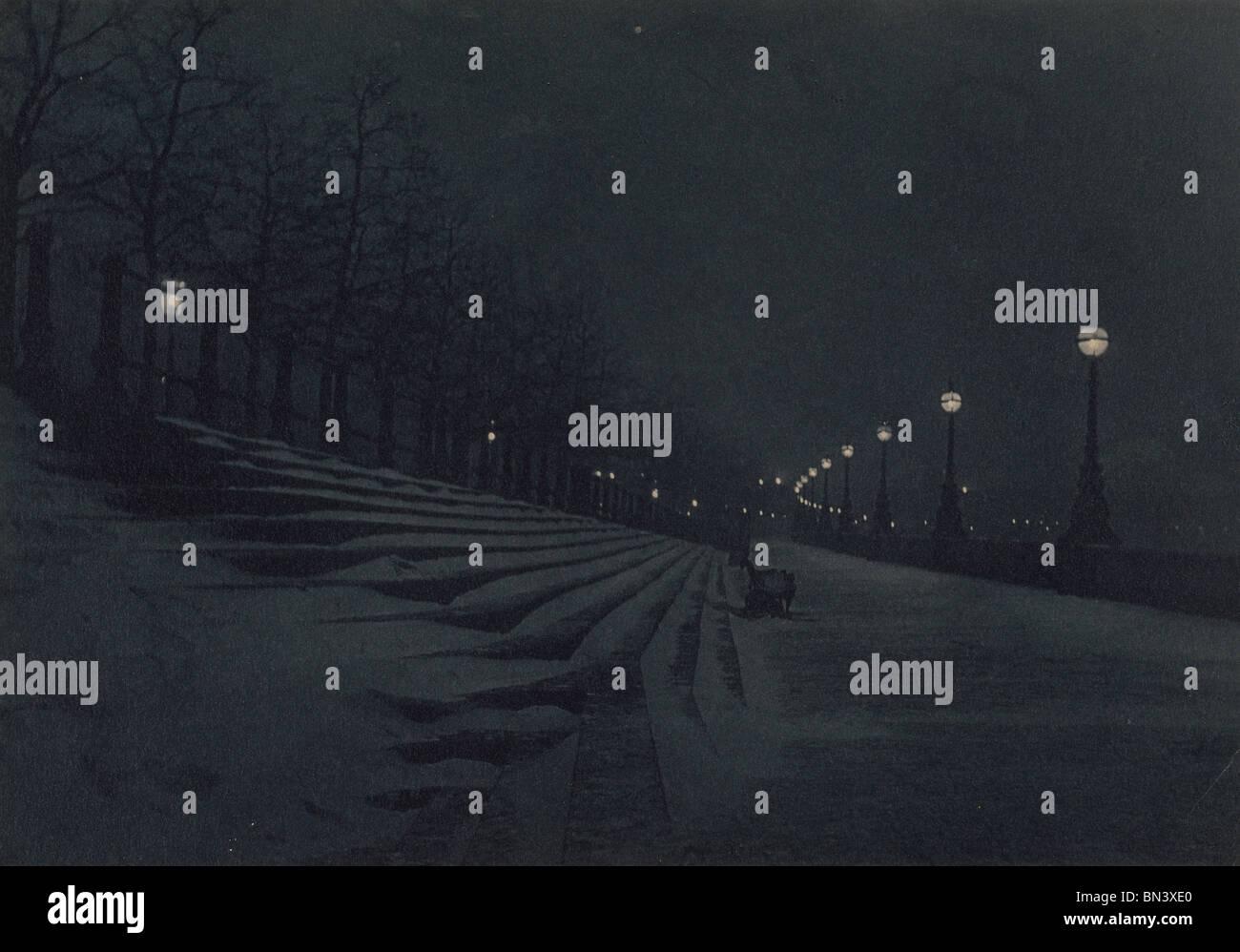 Il terrapieno di notte, photo Paul Martin. Londra, Inghilterra, 1896 Immagini Stock