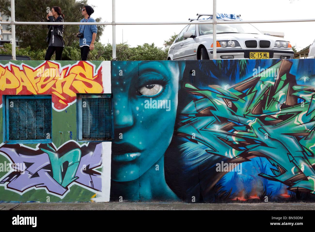 La spiaggia di Bondi Graffiti - Sydney Australia Immagini Stock