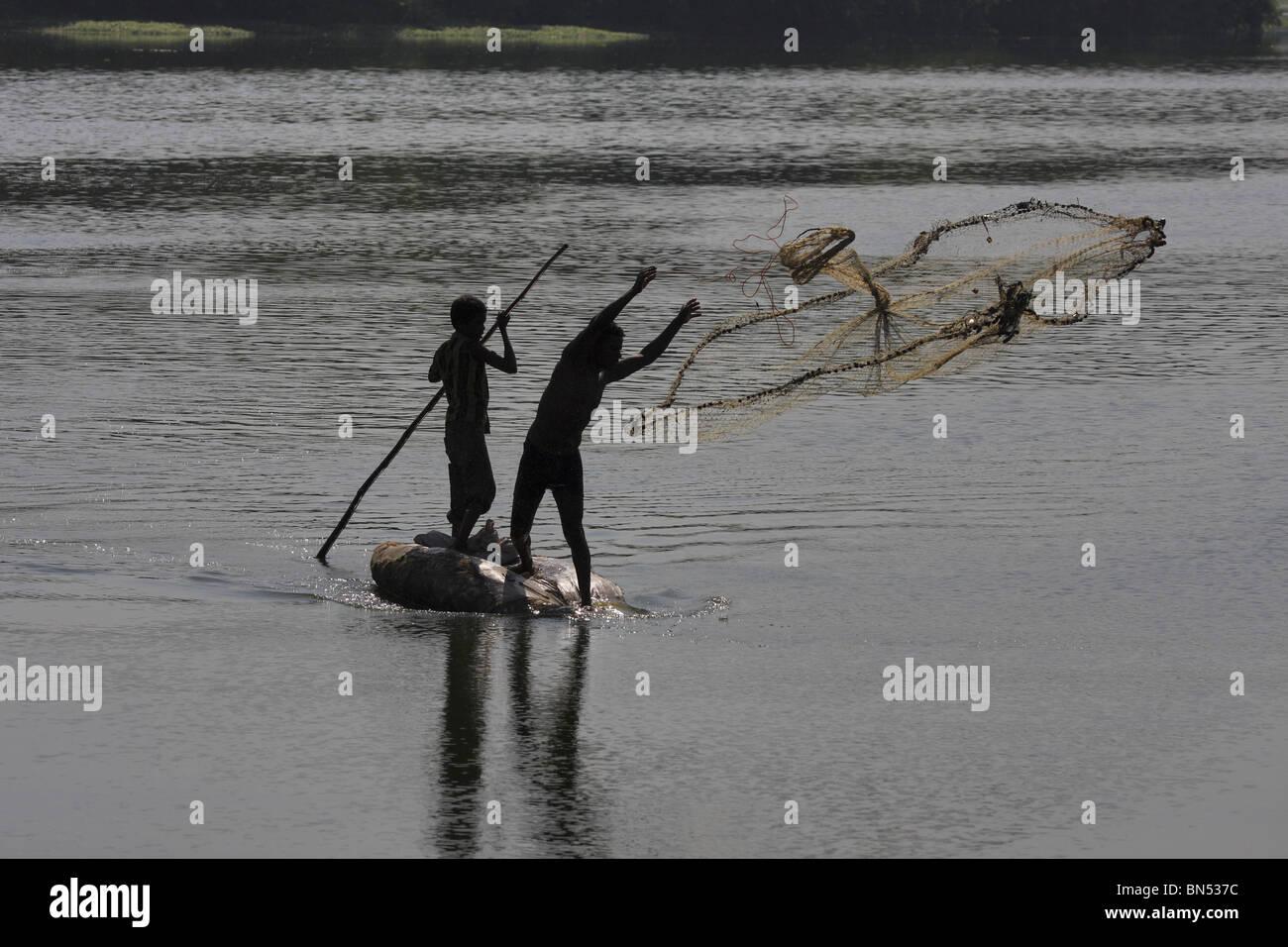 La pesca con la rete Immagini Stock