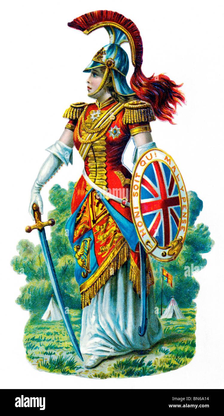 Britannia, Vittoriano cromo-litografia della personificazione della Gran Bretagna e il suo impero sin dai tempi Immagini Stock