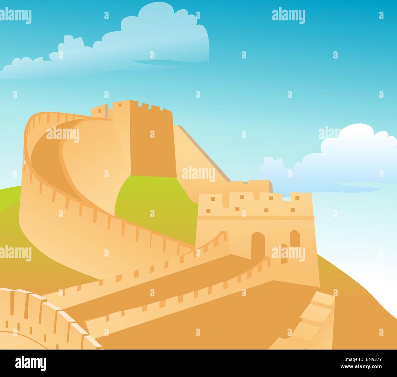 La Grande Muraglia della Cina, con cielo blu sullo sfondo Immagini Stock