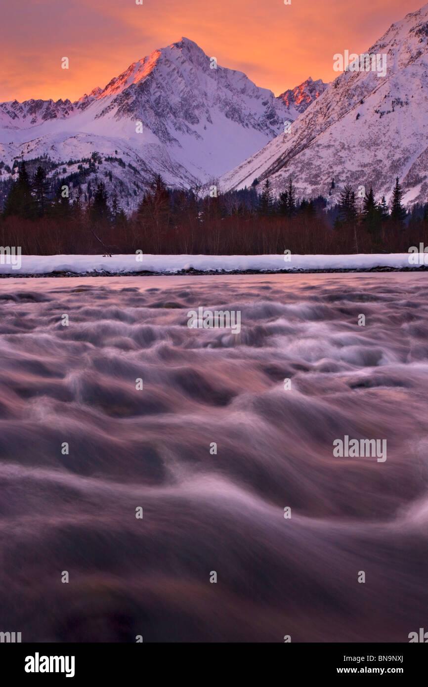 La risurrezione River, Seward, Alaska. Immagini Stock