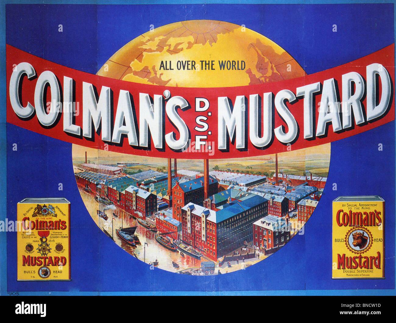COLMAN'S SENAPE Poster pubblicitario circa 1920 Immagini Stock
