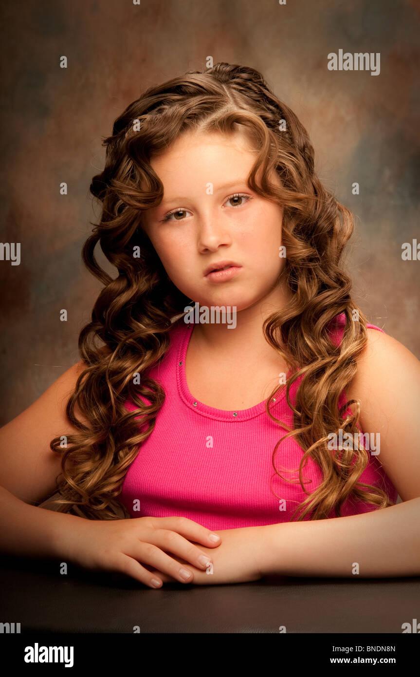 Ritratto di giovane ragazza preteen Immagini Stock