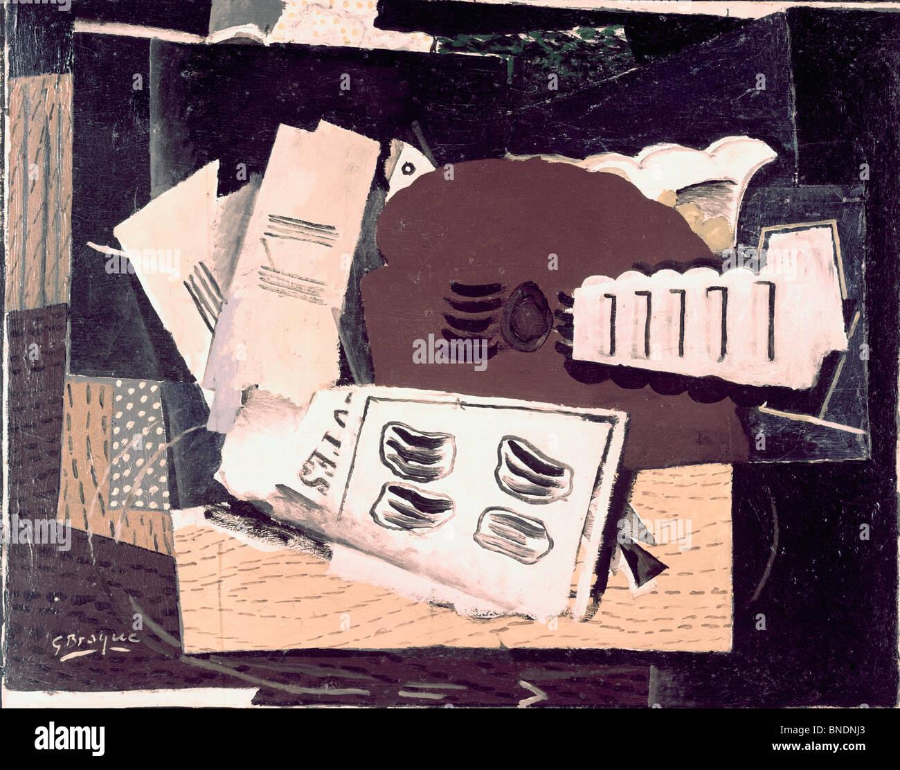 Natura morta con mandolino da Georges Braque, 1882-1963 Immagini Stock