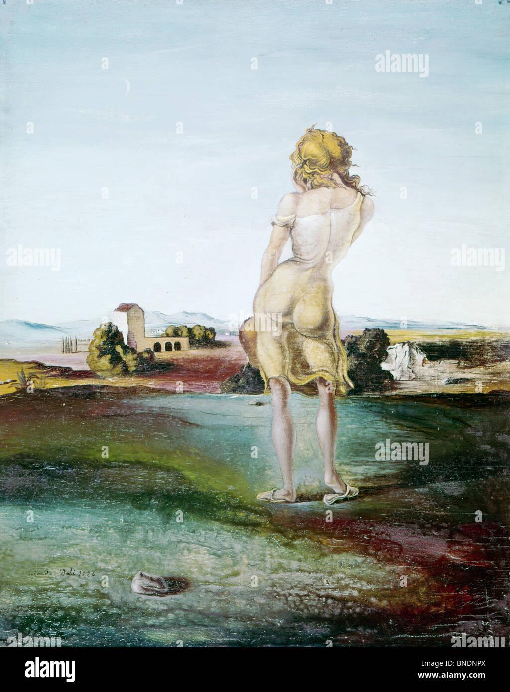 Ragazza con i riccioli di Salvador Dali, olio su pannello, 1926, 1904-1989 Immagini Stock