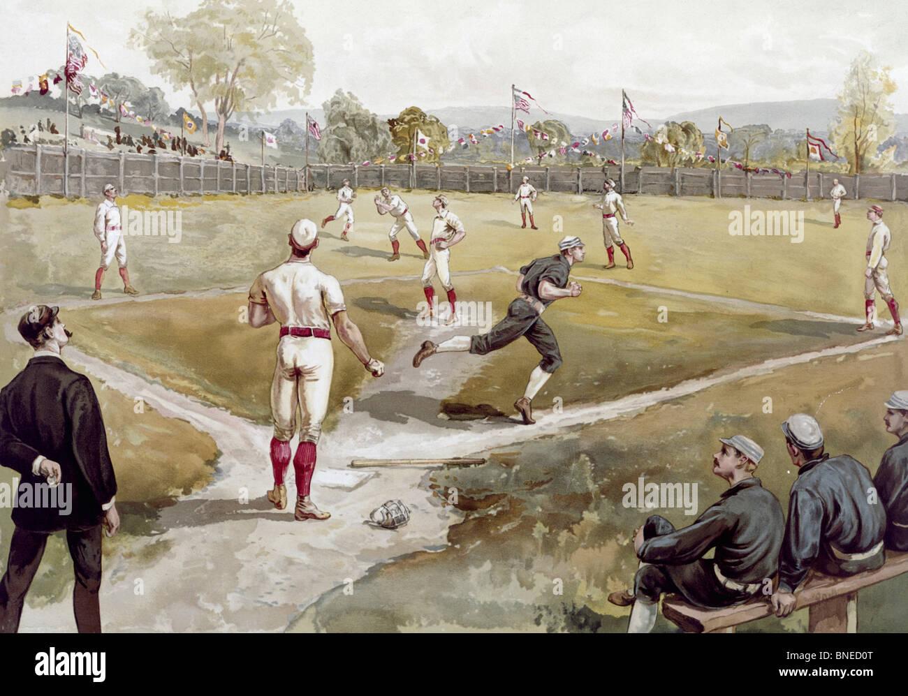 Il baseball, artista sconosciuto, acquerello Immagini Stock