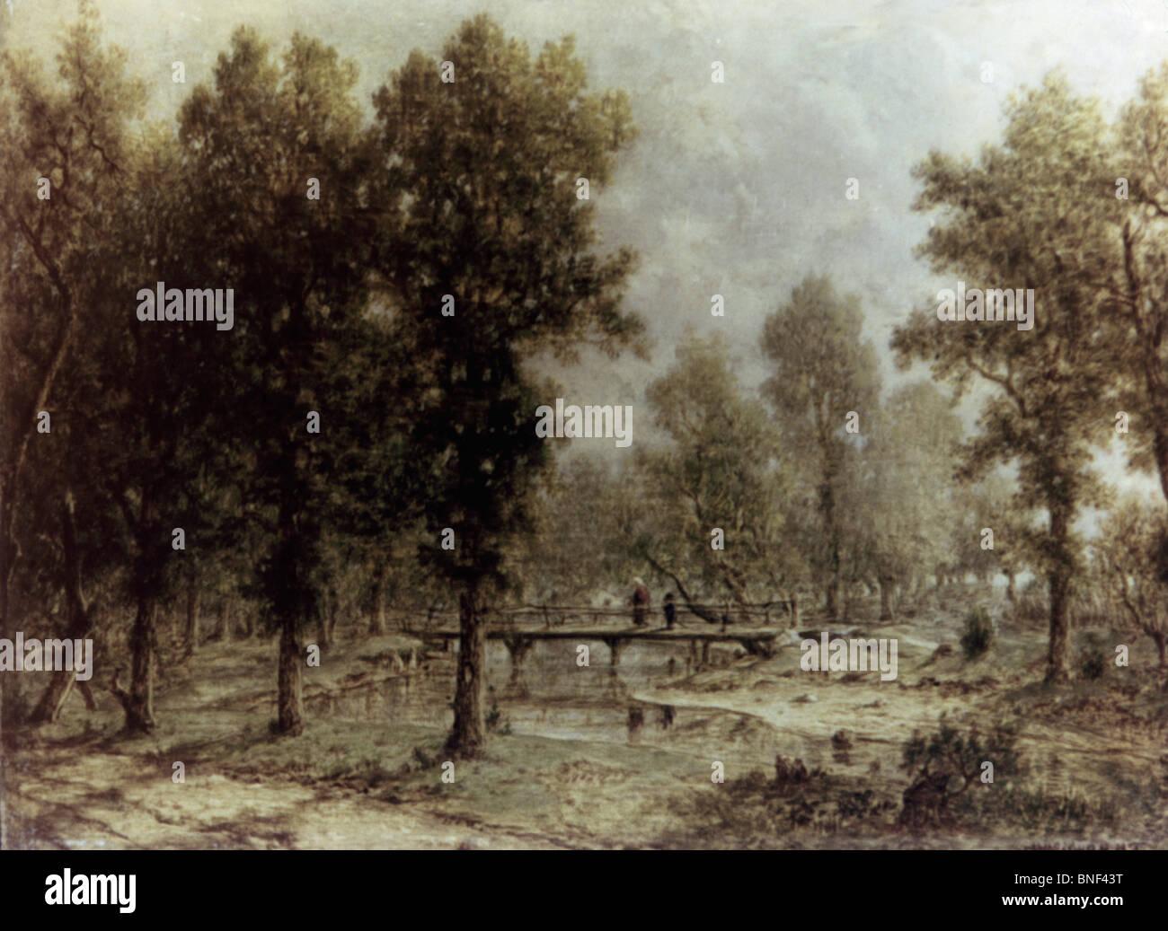 Paesaggio con un ponte da Theodore Rousseau, olio su pannello, 1850-52, 1812-1867, Russia, San Pietroburgo, l'Eremo Immagini Stock