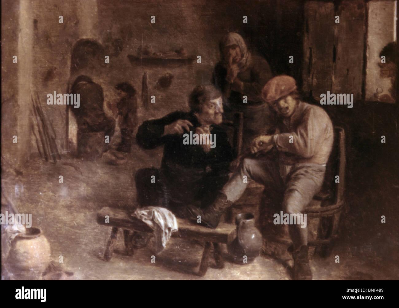 Nella taverna da Adriaen Brouwer, olio su pannello, c. 1630s, 1605-1668, Russia, San Pietroburgo, l'Eremo Immagini Stock