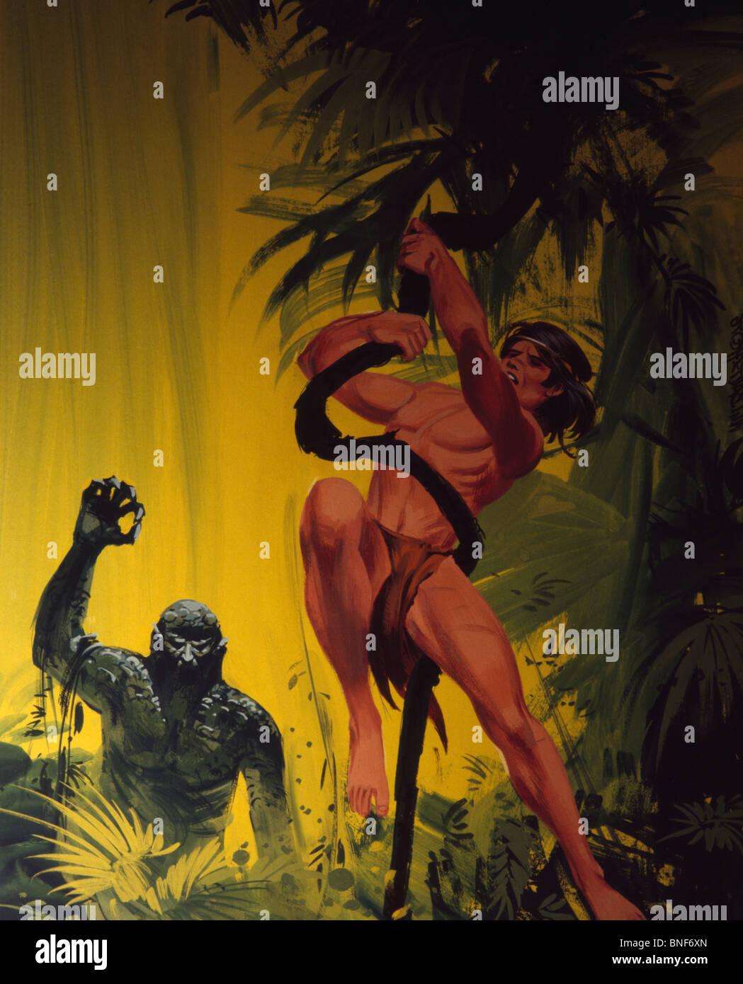 Tarzan basculante in liana e monster a caccia di lui Foto Stock