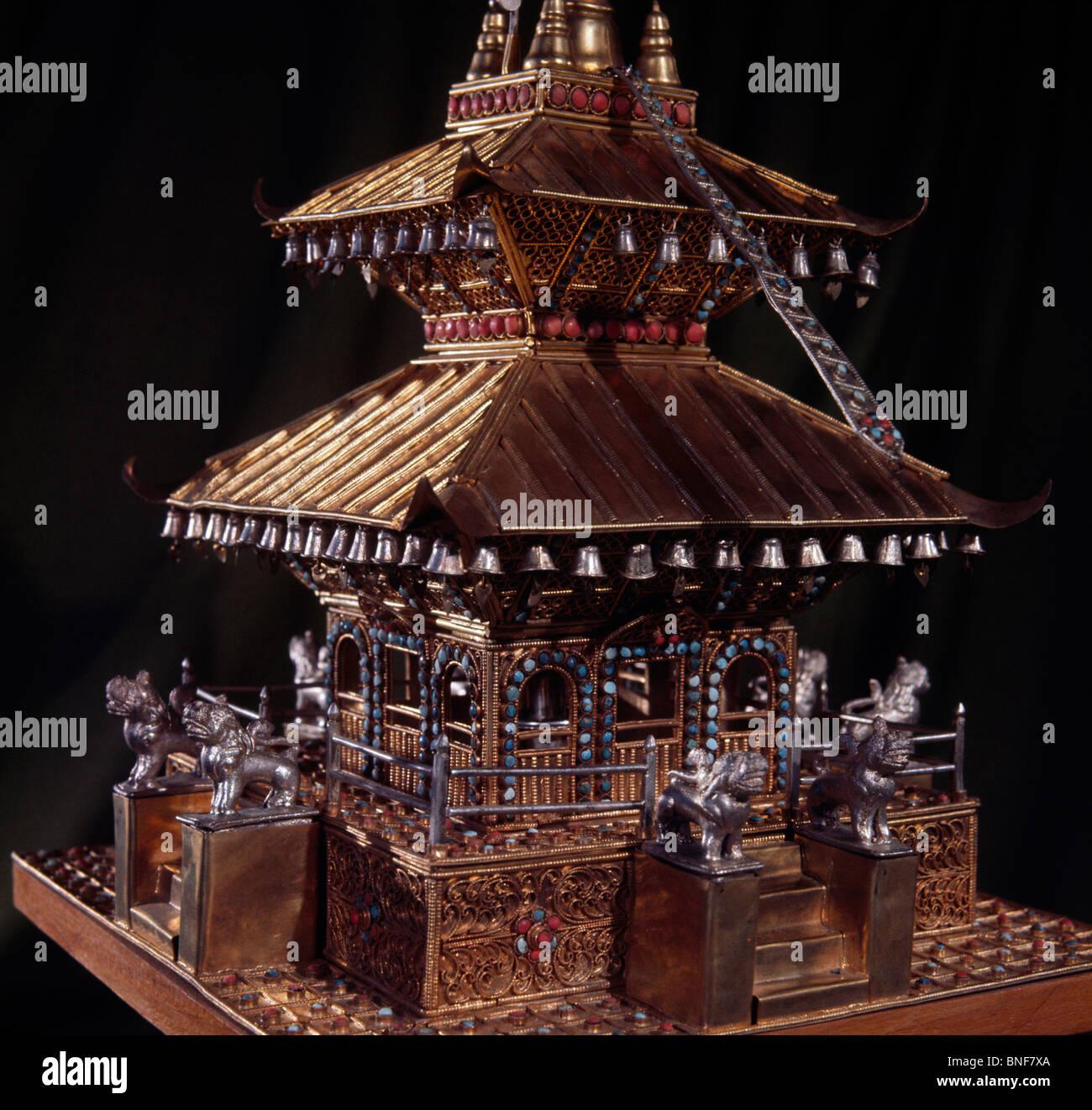 Tempio in miniatura (dettaglio) Antiques-Decorative Arts Eisenhower Museum, Abilene Immagini Stock