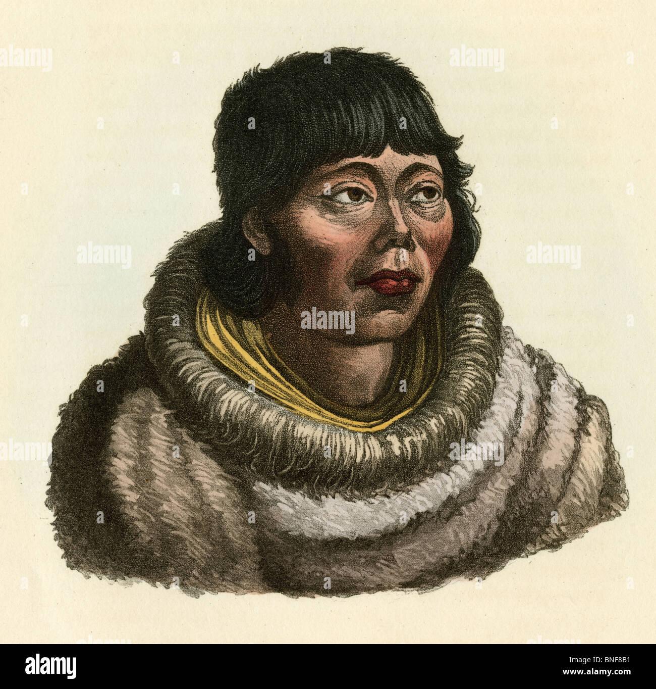 """1842 colorate a mano incisione da Dr. Prichard la storia naturale dell'uomo, """"Kamtschadale."""". Immagini Stock"""