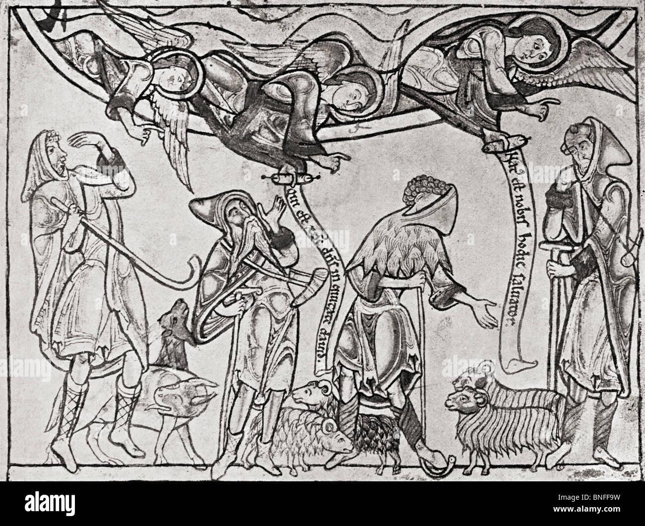 I Pastori nel medioevo. Illustrazione dal libro il conoscitore illustrato pubblicato 1904. Immagini Stock