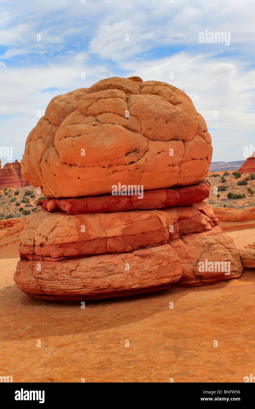 Erosi formazione di arenaria che assomiglia a un hamburger in Vermiglio scogliere monumento nazionale, Arizona Immagini Stock