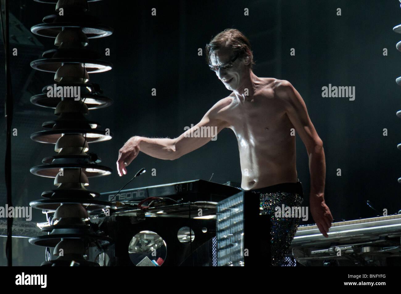 "Christian 'Dottore fiocchi"" Lorenz, Rammstein tastierista Immagini Stock"